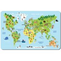 Подложка за храна за детски рожден ден карта на света с животни модел 19866