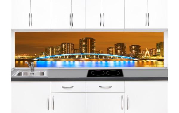 Принт стъкло за кухня модел 19089 нощен град