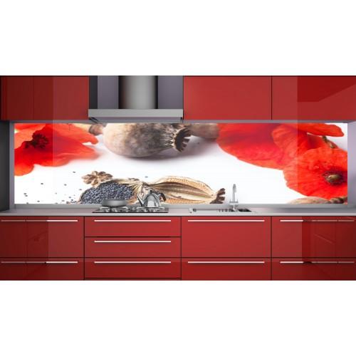 Принт стъкло за кухня модел 19115 макове