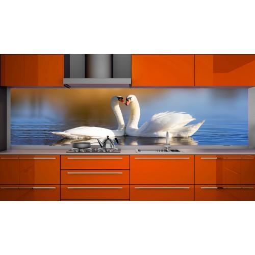 Принт стъкло за кухня модел 19199 лебеди