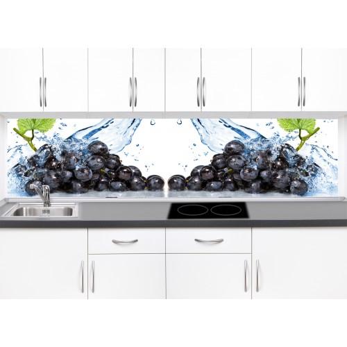 Принт стъкло за кухня модел 19264 грозде вода