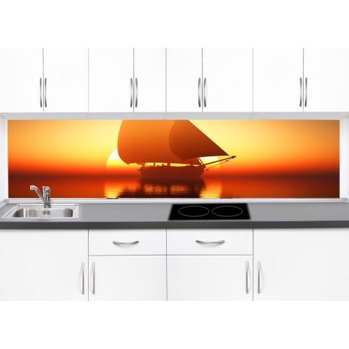 Принт стъкло за кухня модел 19326 яхта море залез