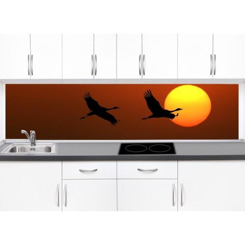 Принт стъкло за кухня модел 19360 полет птици залез