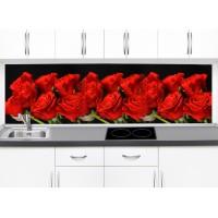 Принт стъкло за гръб на кухня червени рози модел 19380