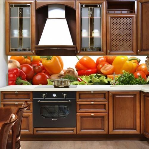 Принт стъкло за кухня модел 19003 със зеленчуци