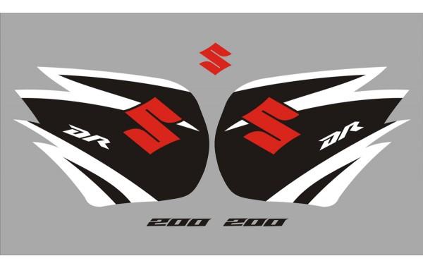 Стикери за SUZUKI DR 200 комплект в бяло , черно и червено модел 26378