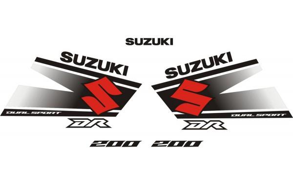 Стикери за SUZUKI DR 200 комплект в бяло , черно и червено модел 26379