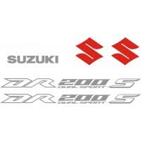 Стикери за SUZUKI DR 200 комплект в сребърно, бяло и червено 2017 модел 26382