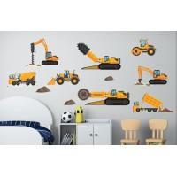 Стикери за детска стая строителни машини багер фадрома валяк свредел модел 20082