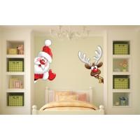 Стикер за детска стая дядо Коледа и еленчето зад шкафа модел 20098