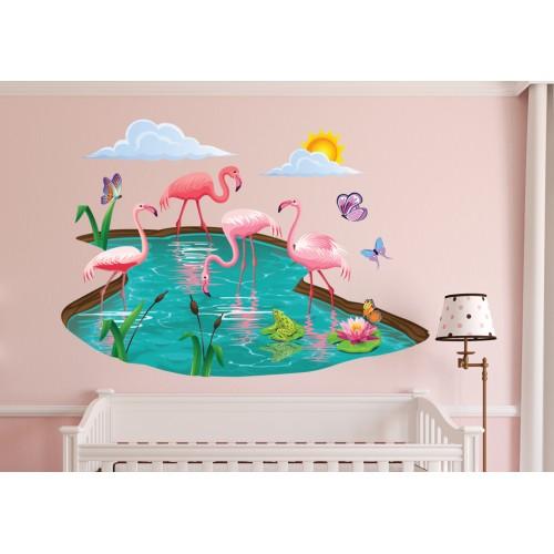 Стикери за детска стая фламинго в езеро модел 20106