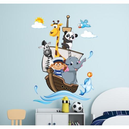Стикери за детска стая комплект маймунка капитан на кораб модел 20125