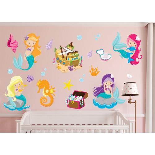 Стикери за детска стая комплект русалки потънал кораб съкровище модел 20126
