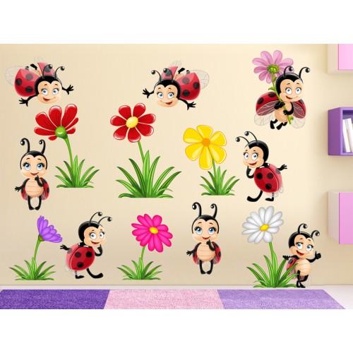 Стикери за детска стая комплект калинки и цветенца модел 20149