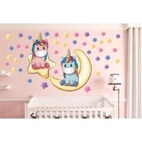 Стикери за детска стая звезди и луна и ЕДНОРОГ модел 20169
