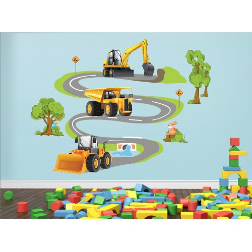 Стикери за детска стая строителни машини багер фадрома камион модел 20340