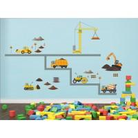 Стикери за детска стая строителни машини багер фадрома камион кран модел 20342