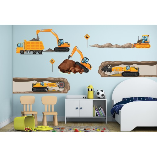 Стикери за детска стая строителни машини земекопачи багери камиони  модел 20344