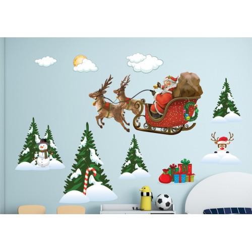 Стикери за детска стая зимна приказка с дядо Коледа модел 20352