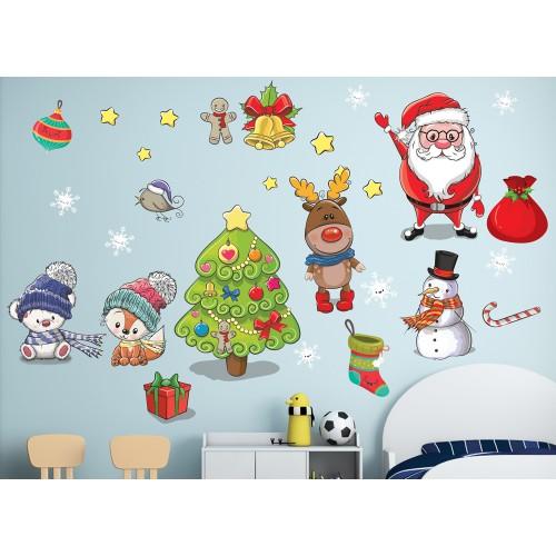 Стикери за детска стая сет дядо Коледа еленчето елха снежинки звездички модел 20354