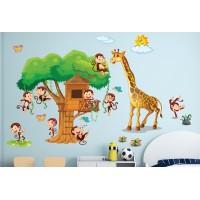 Стикери за детска стая къща с маймунки модел 20384