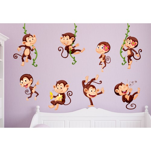 Стикери за детска стая маймунки  модел 20385