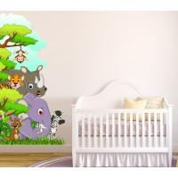 Стикери за детска стая Джунгла зад ъгъла на стаята със слон, носорог, тигър, зебра, кенгуру и маймунка модел 20396
