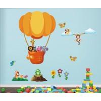 Стикери за детска стая лъв жираф зебра и слон с балон модел 20462
