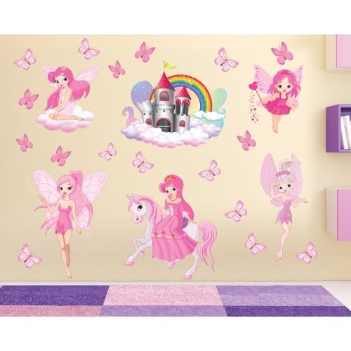 Стикери за детска стая комплект замък феи и пеперуди модел 20472