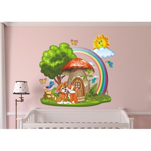 Стикери за детска стая Гъбка къщичка модел 20036