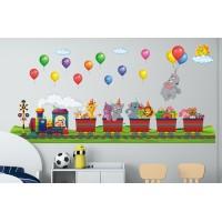 Стикери за детска стая Животните от Африка с влак на рожден ден модел 20371