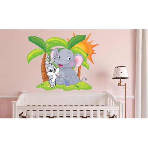 Стикер за детска стая зайко слонче палми остров със слънце модел 20005