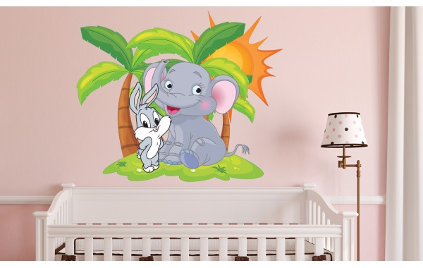 Стикери за стена на детска стая модел 20005 палми слонче и зайко