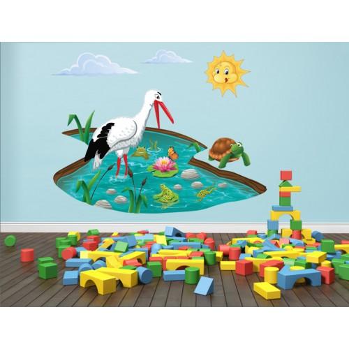 Стикери за детска стая  Модел 20027 щъркел жабки езеро