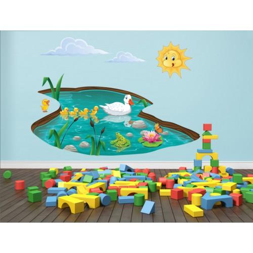 Стикери за детска стая  Модел 20034 патета в езеро