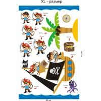 Стикери за детска стая  маймунки пирати пиратски кораб остров съкровища модел 20041