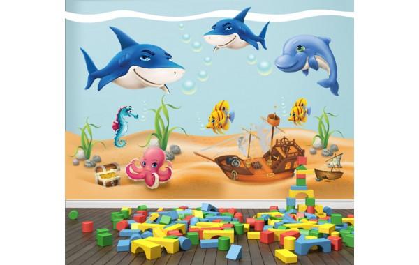 Стикери за детска стая  Морски свят с пиратски кораб и съкровище модел 20042