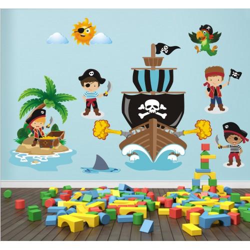 Стикери за детска стая  пирати пиратски кораб остров съкровища модел 20044
