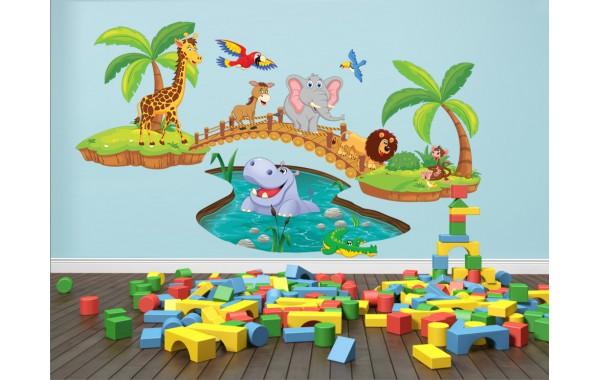 Стикери за детска стая  Модел 20079 жираф слон хипопотам лъв маймунка