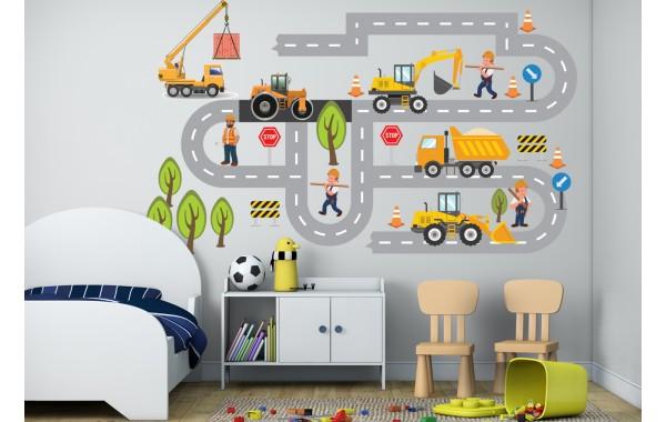 Стикери за детска стая  строители на път модел 20083