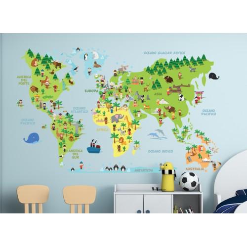 Стикери за детска стая  Карта на света с животните модел 20085