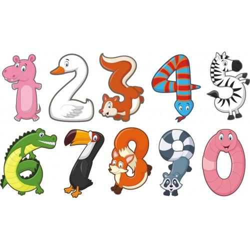 Стикери за детска стая  Модел 20088 цифри животни