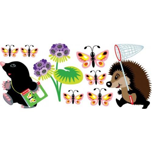 Стикери за детска стая Ежко и Язко на излет 20128