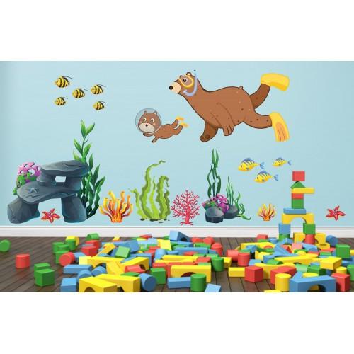 Стикери за детска стая мечо водолаз модел 20141