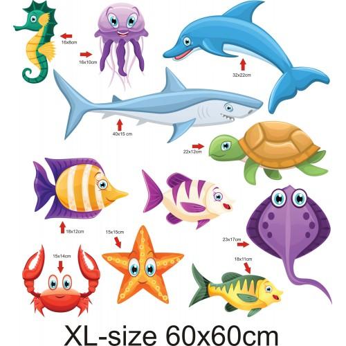 Стикери за детска стая  морски животни сет  Модел 20380