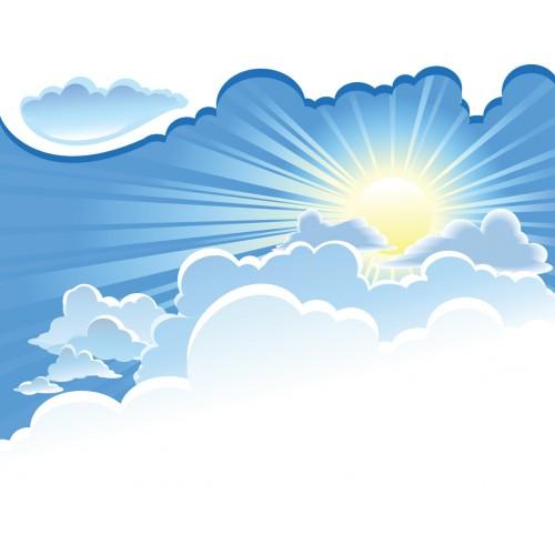 Стикери за стена на детска стая Небе Слънце облаци  Модел 20402