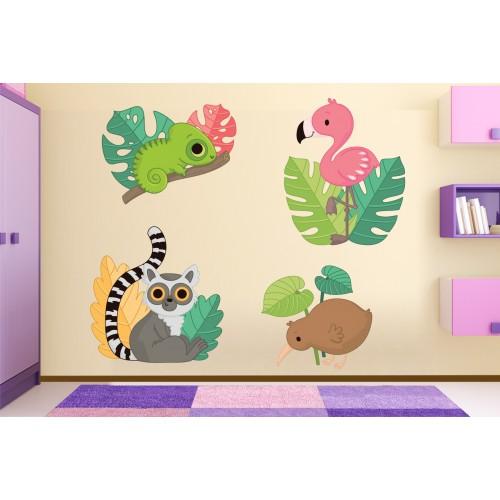 Стикери за детска стая фламинго,хамелион модел 20445