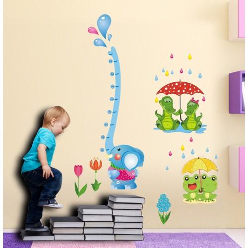 Стикери за детска стая ръстомер със слонче модел 20449