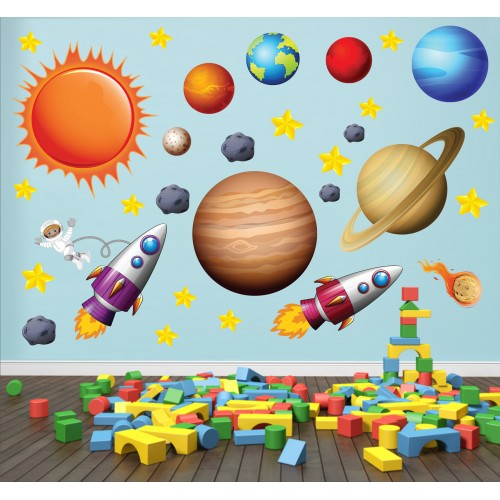 Стикери за детска стая космос планети астронавти ракети модел 20451