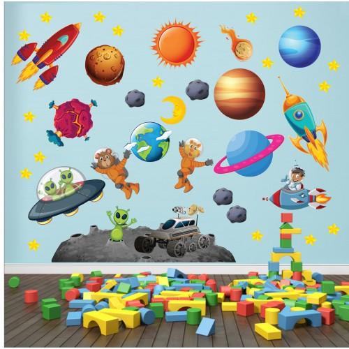 Стикери за детска стая космос планети астронавти ракети модел 20454
